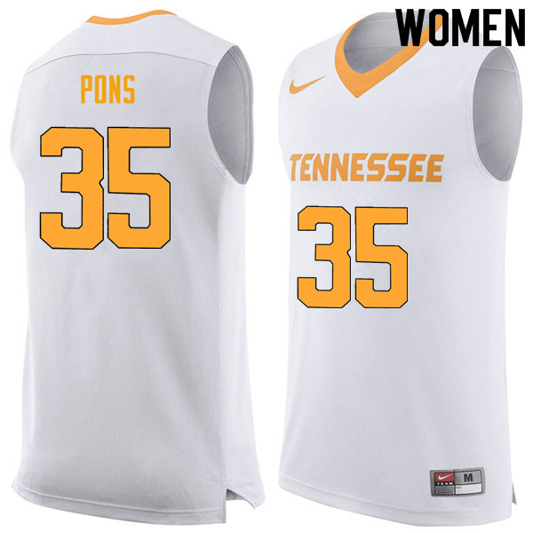 Women #35 Yves Pons Tennessee Volunteers College Basketball Jerseys Sale-White